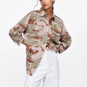 Zara Camouflage Overshirt With Pockets